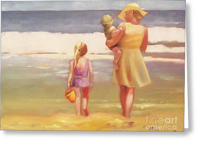 First Waves Beach Waves With Children And Mom  Greeting Card