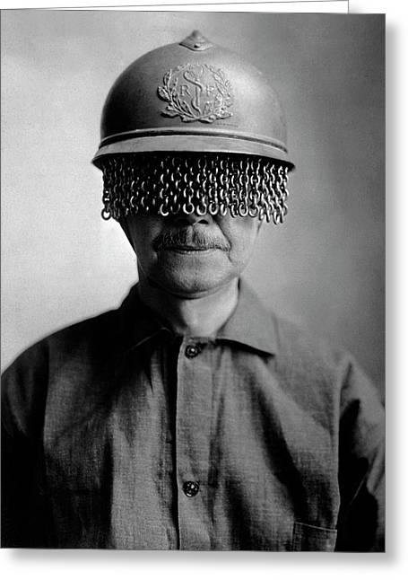 First World War Helmet Eye Screen Greeting Card by Us Army/science Photo Library
