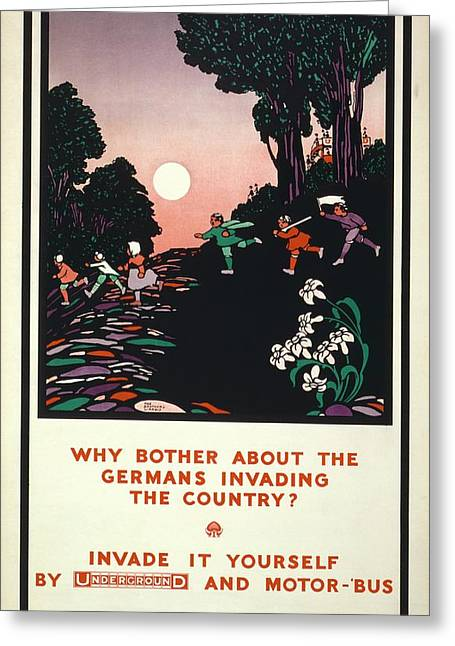 First World War London Underground Poster Greeting Card by Library Of Congress
