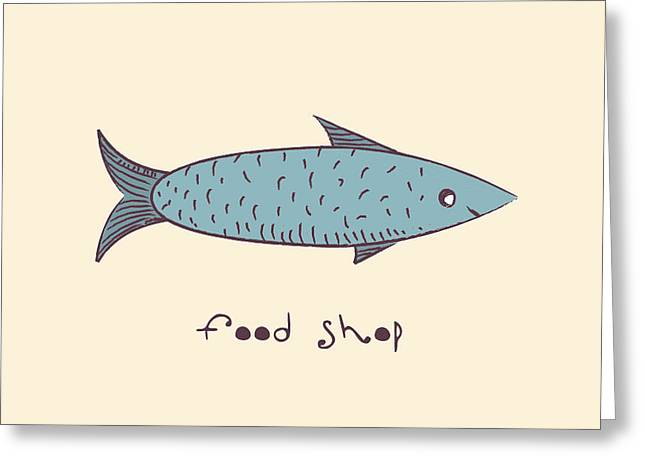 Fish A Freehand Drawing  Logo Store Food Greeting Card