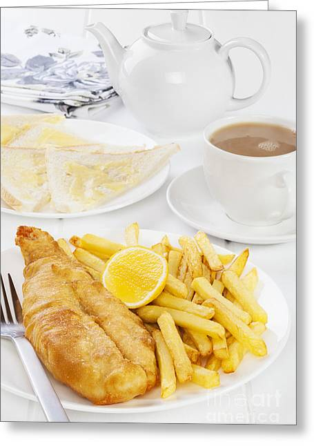 Fish And Chips Supper Greeting Card by Colin and Linda McKie