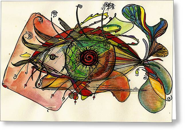 Fish And Eye Abstract Greeting Card