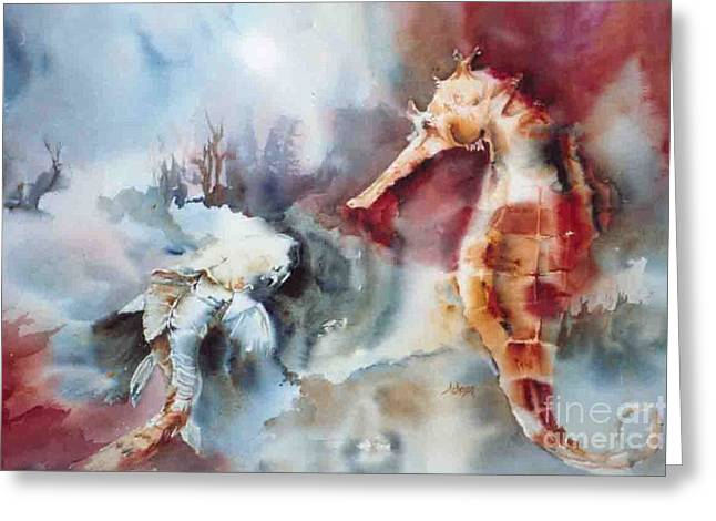 Fish And Sea Horse Greeting Card by Donna Acheson-Juillet
