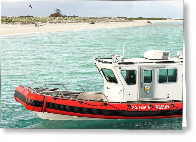 Fish And Wildlife Boat At Eastern Island Greeting Card