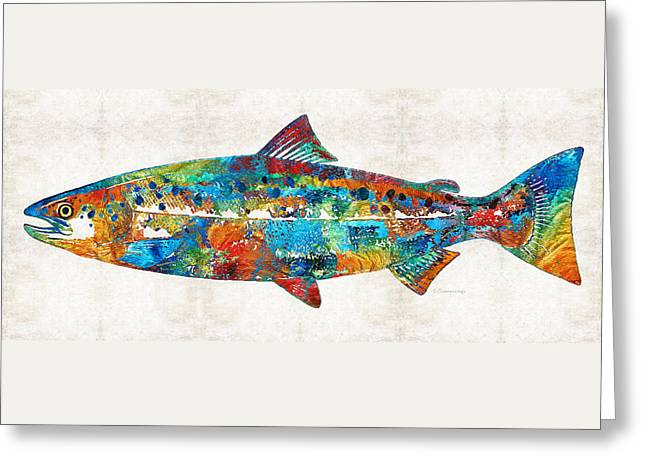 Fish Art Print - Colorful Salmon - By Sharon Cummings Greeting Card