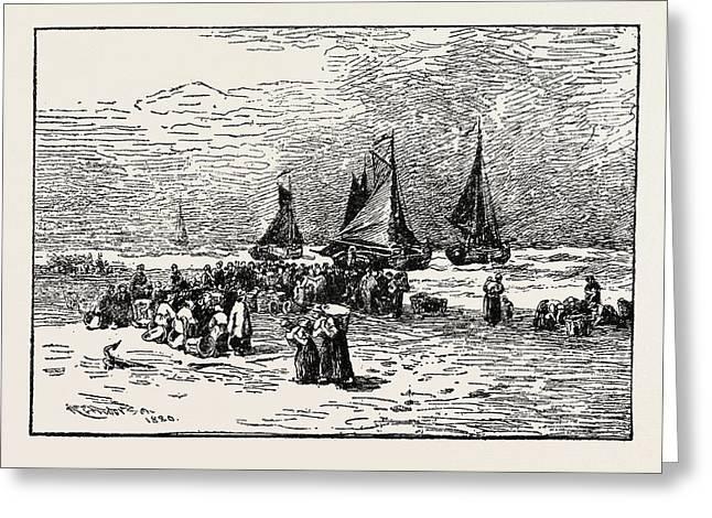 Fish Auction, Zandvoort Greeting Card by Dutch School