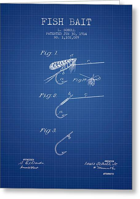 Fish Bait Patent From 1914 - Blueprint Greeting Card by Aged Pixel