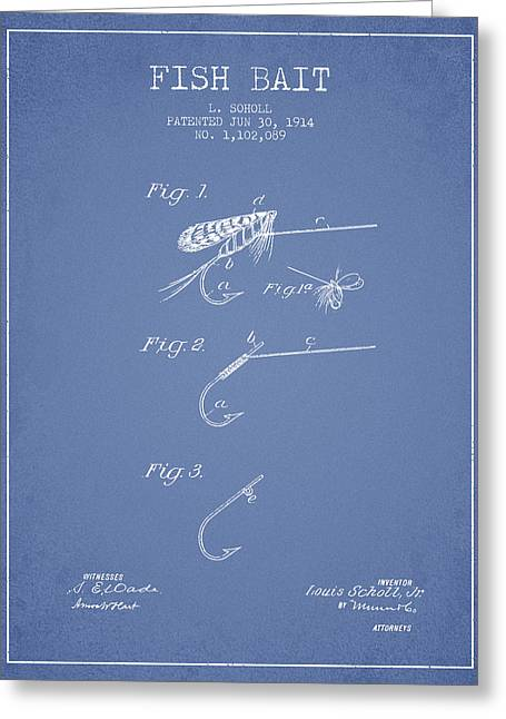 Fish Bait Patent From 1914 - Light Blue Greeting Card by Aged Pixel