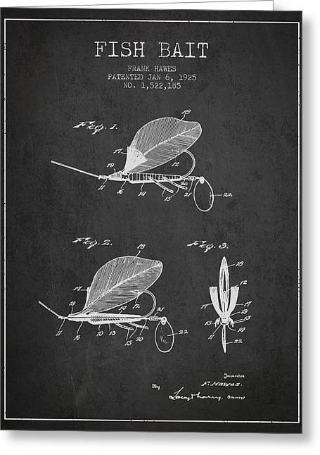 Fish Bait Patent From 1925 - Charcoal Greeting Card