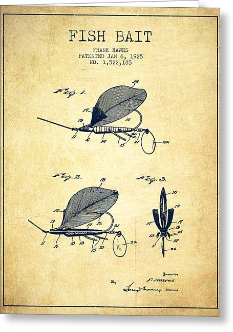 Fish Bait Patent From 1925 - Vintage Greeting Card by Aged Pixel