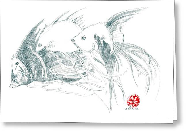 Greeting Card featuring the drawing Fish by Dianne Levy