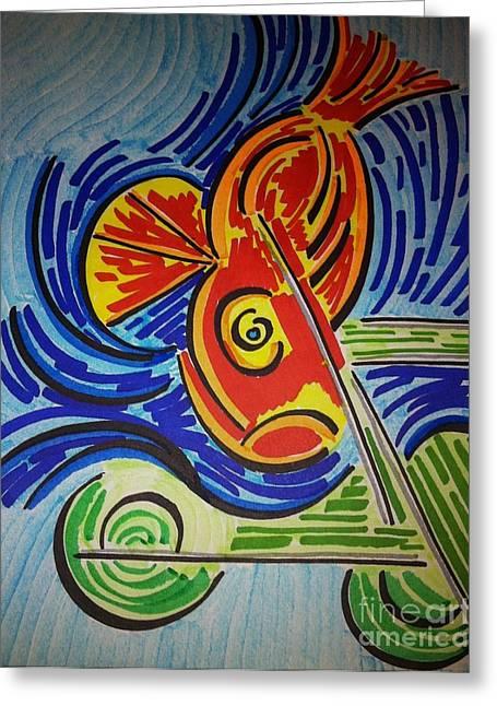 Fish Dream Greeting Card by Joseph Mccullagh
