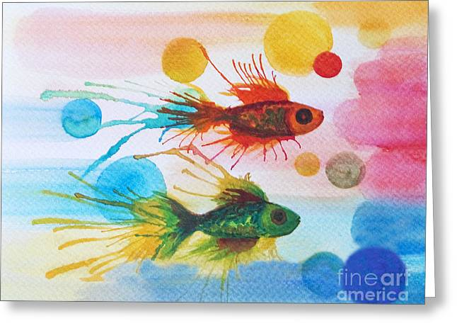 Greeting Card featuring the painting Fish Finale by Angelique Bowman