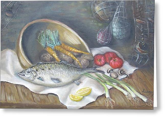 Greeting Card featuring the painting Fish For Dinner by Luczay