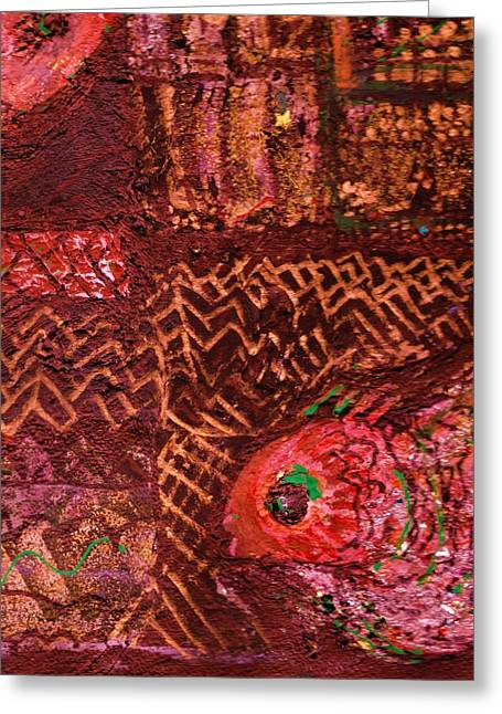Fish In A Maze Of Nets Greeting Card by Anne-Elizabeth Whiteway