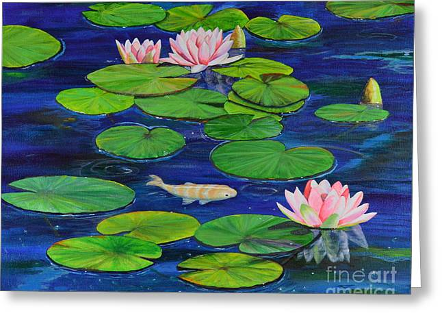 Greeting Card featuring the painting Tranquil Pond by Mary Scott