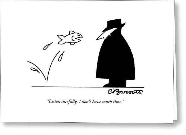Fish Informant Jumps Toward Man In Trench Coat Greeting Card by Charles Barsotti