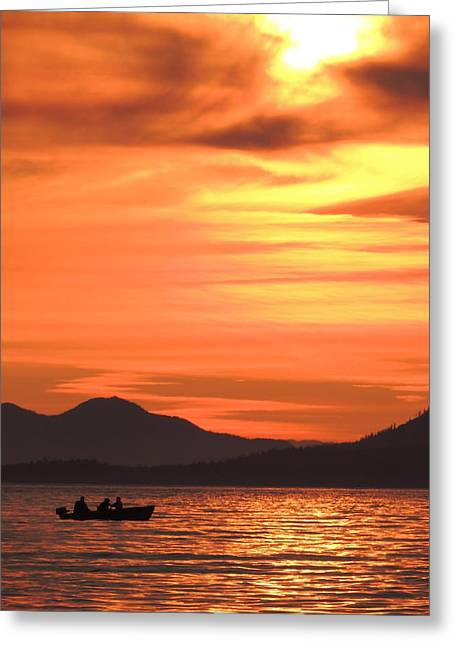 Fish Into The Sunset Greeting Card