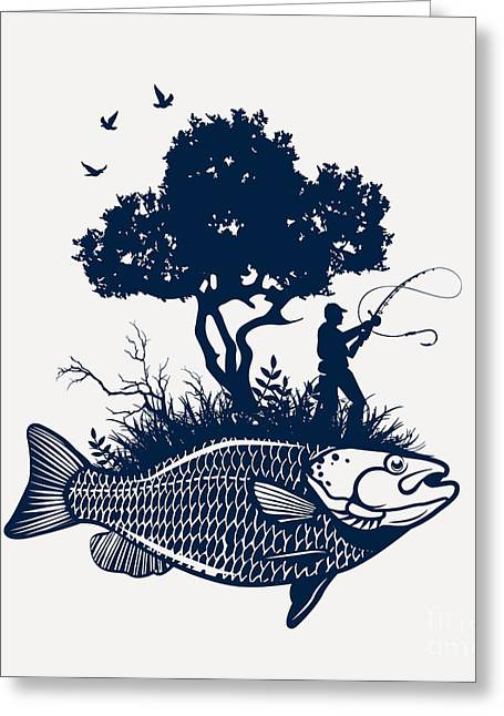 Fish Island With Fisherman And Tree Greeting Card by Moloko88