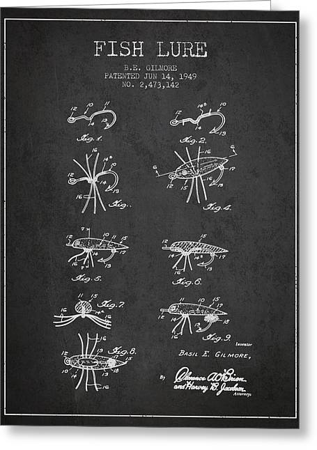Fish Lure Patent From 1949- Charcoal Greeting Card by Aged Pixel