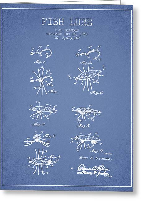 Fish Lure Patent From 1949- Light Blue Greeting Card by Aged Pixel
