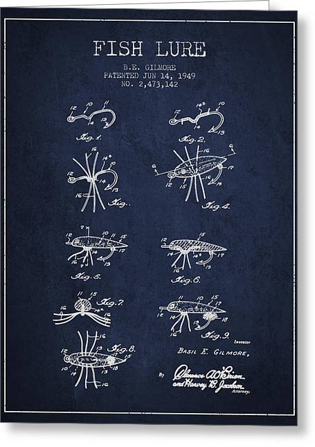 Fish Lure Patent From 1949- Navy Blue Greeting Card by Aged Pixel