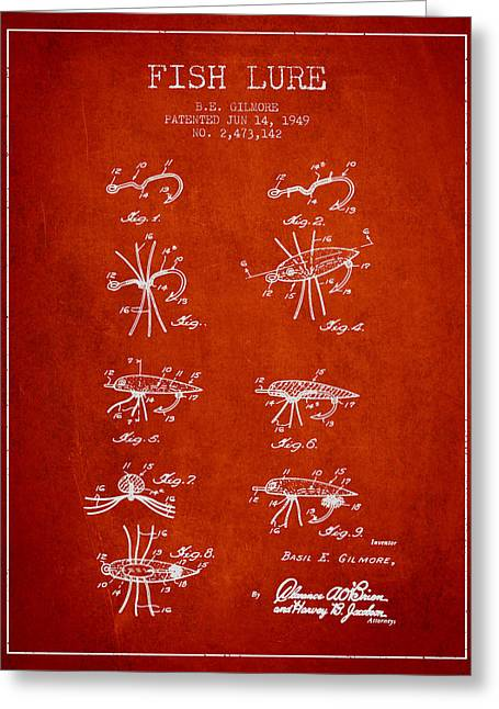 Fish Lure Patent From 1949- Red Greeting Card by Aged Pixel