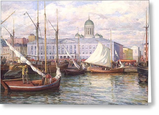 Fish Market In Helsinki Greeting Card