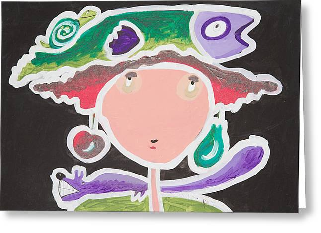 Fish On My Head Greeting Card by Artists With Autism Inc