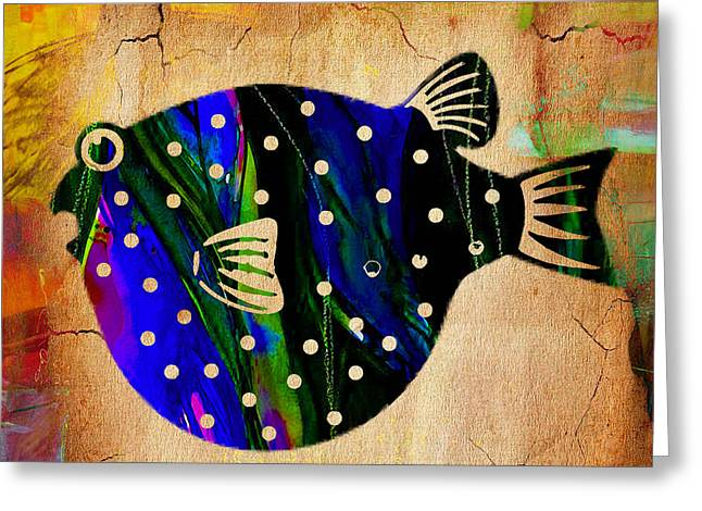 Fish Plaque Greeting Card by Marvin Blaine