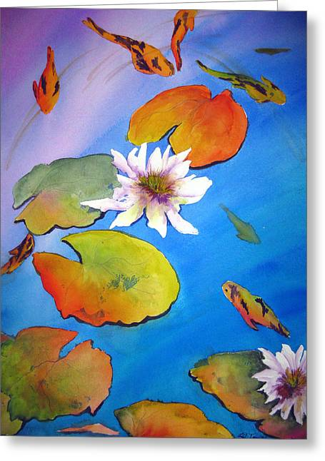Greeting Card featuring the painting Fish Pond I by Lil Taylor