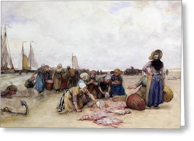 Fish Sale On The Beach  Greeting Card by Bernardus Johannes Blommers