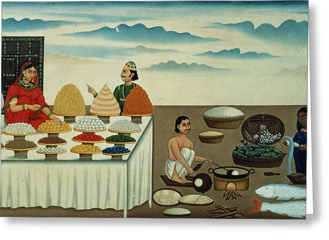Fish Seller, Sweetmeat Maker And Sellers With Their Wares, Patna, C.1870 Gouache On Paper Greeting Card