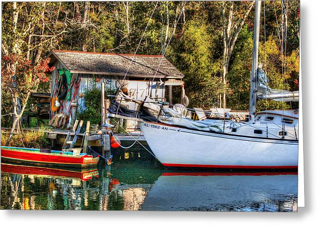 Fish Shack And Invictus Original Greeting Card by Michael Thomas
