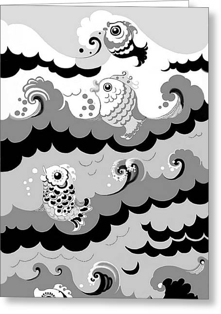 Greeting Card featuring the digital art Fish Waves by Carol Jacobs