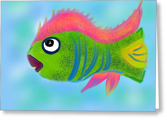 Greeting Card featuring the digital art Fish Wish by Christine Fournier