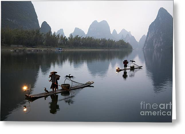 Fishemen In China Greeting Card by King Wu