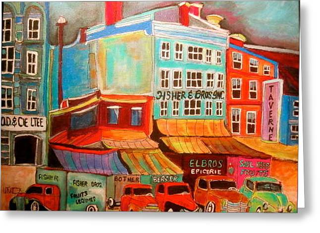 Fisher Bros. Old Montreal Memories Greeting Card by Michael Litvack