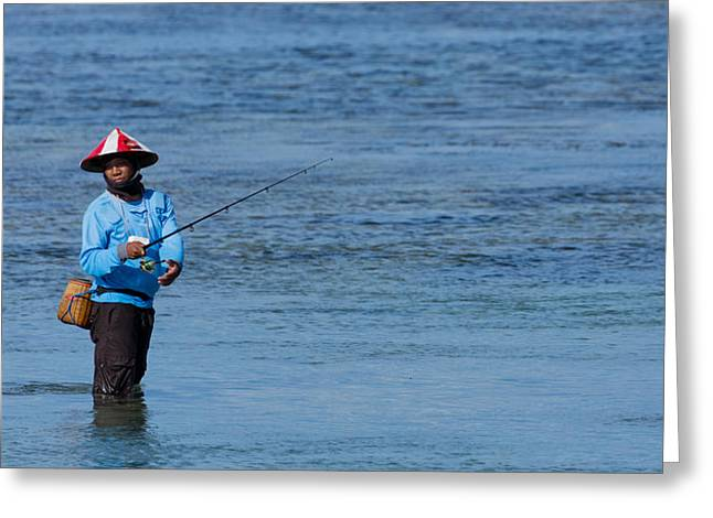 Greeting Card featuring the photograph Fisherman - Bali by Matthew Onheiber
