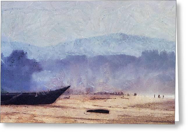 Fisherman Boat On The Goan Coast. India Greeting Card by Jenny Rainbow