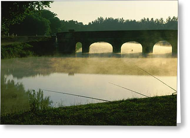 Fisherman Fishing In A River Greeting Card by Panoramic Images