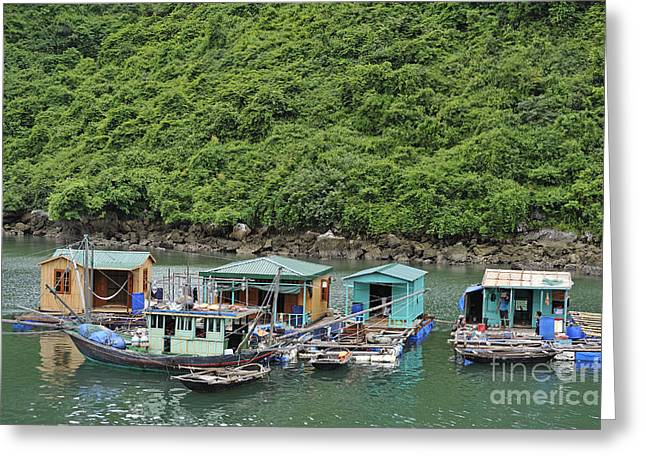 Fisherman Floatting Houses Greeting Card