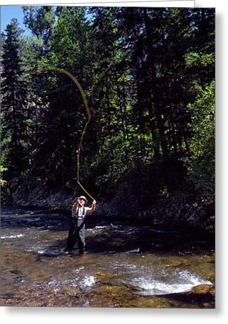 Fisherman Flyfishing In River Greeting Card