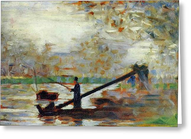 Fisherman In A Moored Boat Greeting Card