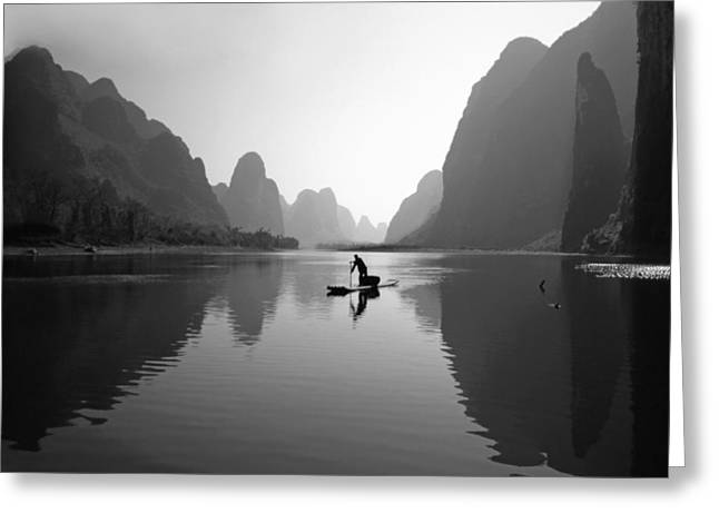 Fisherman In Li River Greeting Card by King Wu