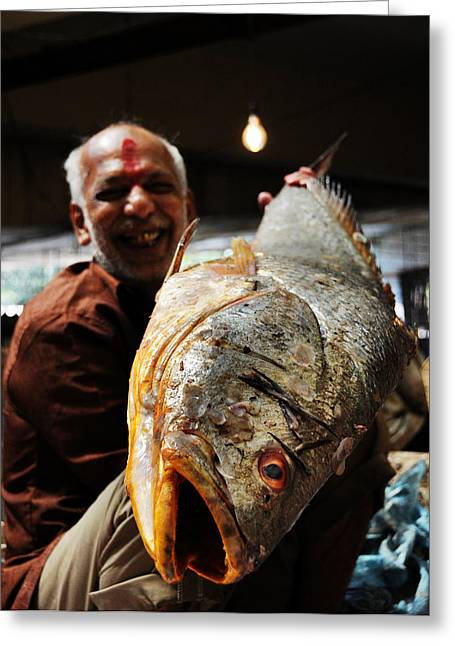 Fisherman Greeting Card by Money Sharma