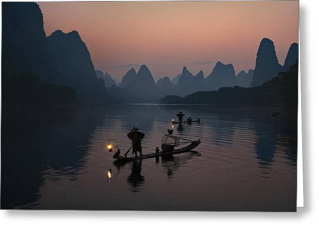 Fisherman Of The Li River Greeting Card