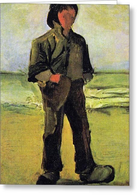Fisherman On The Beach Greeting Card