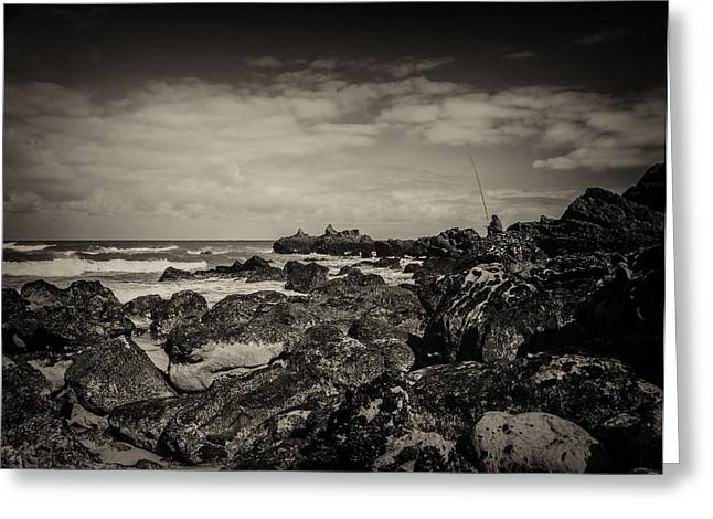 Fisherman On The Rocks Greeting Card by Marco Oliveira