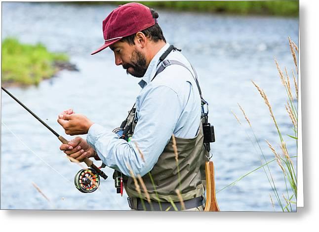 Fisherman Preparing For Fly Fishing Greeting Card